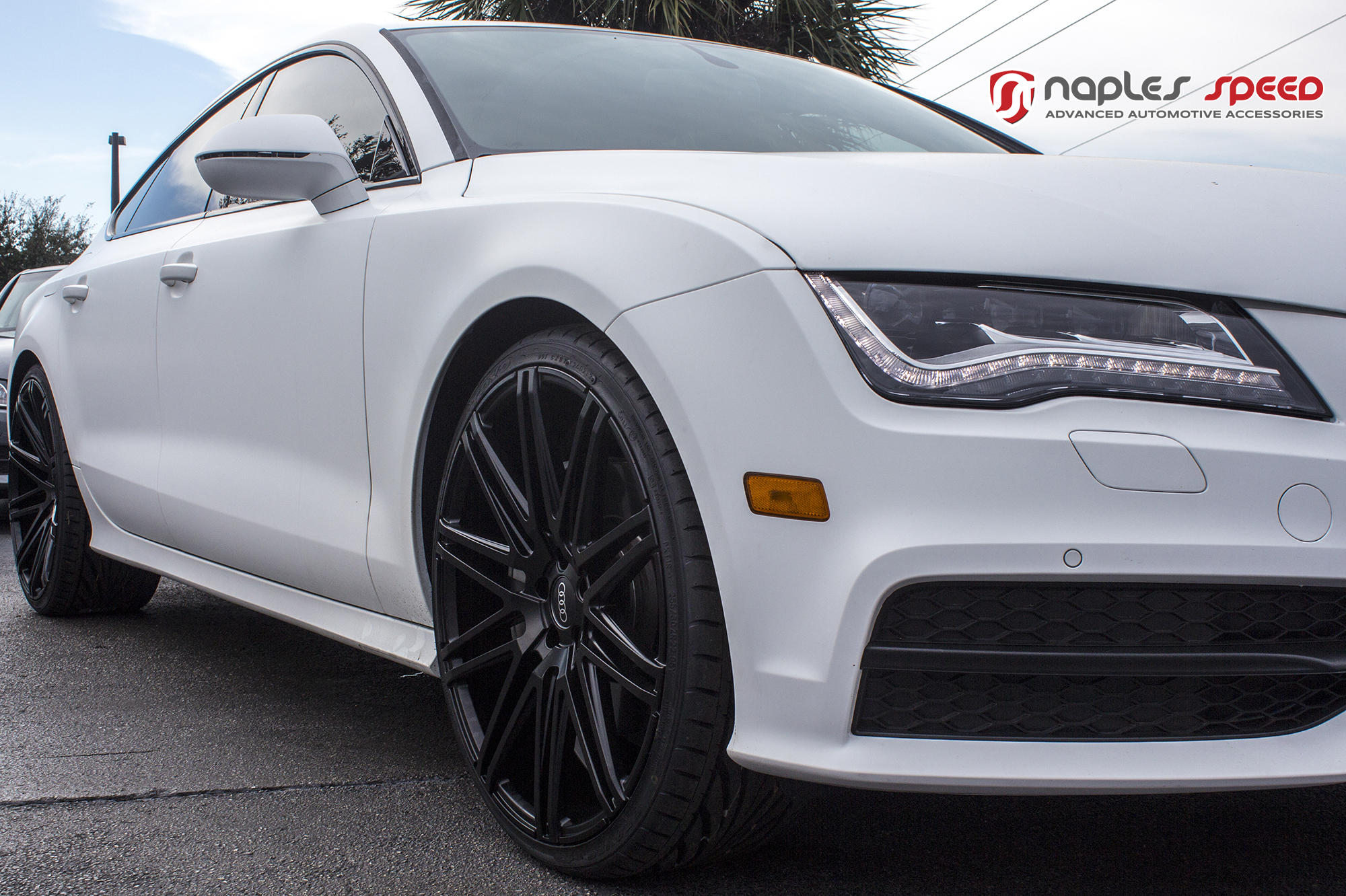 Wrapped Matte White Audi A7 On Xo Milan Wheels Advanced
